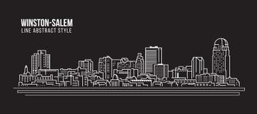 Cityscape Building Line art Vector Illustration design - winston-salem city Stock Photos