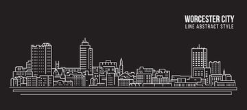 Cityscape Building Line art Vector Illustration design - Worcester city stock illustration
