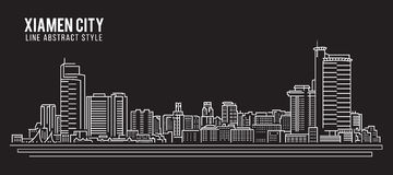Cityscape Building Line art Vector Illustration design - Xiamen city Stock Images