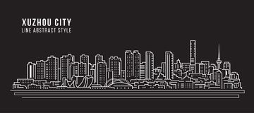 Cityscape Building Line art Vector Illustration design - Xuzhou city Royalty Free Stock Images