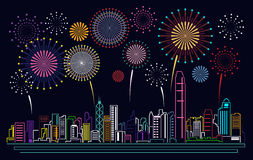 Cityscape Building Line Hong kong city and firework Vector Illustration design Stock Photo