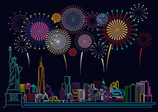 Cityscape Building Line new york city and firework art Vector Illustration design Royalty Free Stock Photos