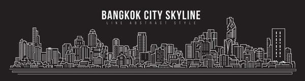 Cityscape Building skyline panorama Line art Illustration design - Bangkok city royalty free illustration
