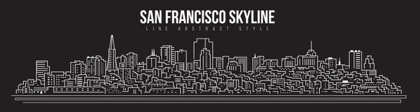 Cityscape Building skyline panorama Line art Illustration design - san francisco city royalty free illustration
