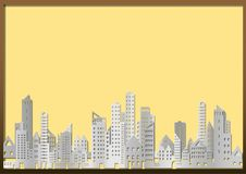 Cityscape of building and skyscraper in paper style on yellow billboard Stock Photos