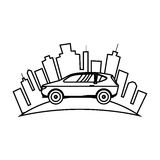 Cityscape buildings and car isolated icon Royalty Free Stock Image