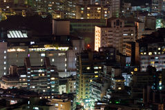 Cityscape of buildings in the night Stock Photography