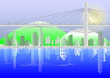Cityscape of Buildings and suspension bridges. Paper style with mountains and moon background,reflection of buildings in river, illustration stock illustration