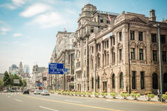 Cityscape of the bund in shanghai. Old buildings with modern street in shanghai bund,China Royalty Free Stock Photos