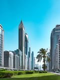 Cityscape of Business Bay district. View from the Sheikh Zayed Road. Dubai, UAE, Jun.2018 royalty free stock photo