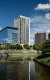 Cityscape. A business district in Richmond, Virginia as seen from historic Brown's Island Stock Photography