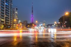 Cityscape of busy street with Tokyo Royalty Free Stock Photos