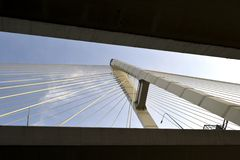 Cityscape. Cable-stayed bridge. Royalty Free Stock Photo