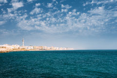 Cityscape of Cadiz town in Spain. Blue sky and sea Royalty Free Stock Images