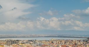 Cityscape of Cagliari, Italy, top view, timelapse. Cityscape of Cagliari, Italy top view, timelapse stock footage