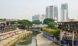 Cityscape with the canal in Kuala Lumpur, Malaysia Stock Photography