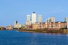 Cityscape of Canary Wharf in London. On a cloudless sunny day Stock Photo