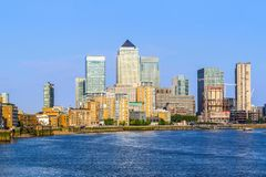 Cityscape of Canary Wharf in London. On a cloudless sunny day Royalty Free Stock Photography