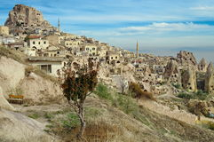 Cappadocia, landmark attraction in Turkey. Volcanic formations converted into dwelling - Cappadocia, landmark attraction in Turkey Country Stock Images
