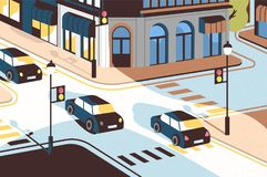 Cityscape with cars driving along road, beautiful buildings, crossroad with traffic lights and pedestrian crossings or stock illustration