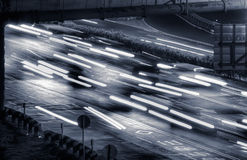 Cityscape of cars in the night Stock Photos