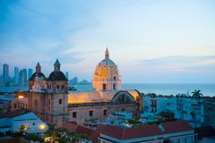Cityscape, Cartagena de Indias, Colombia. Old city in the foreground, new city on the backgroond royalty free stock image