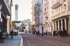 Cityscape of Casablanca - Morocco. Casablanca, Morocco - December 18, 2017 : Scenic view of casablanca`s clock tower and street car railways royalty free stock images