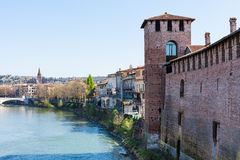Cityscape with Castel and Adige river in Verona Stock Photo