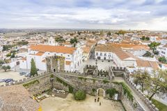 Cityscape with castel and cathedral, Beja, Alentejo, Portugal. Second Capital of Alentejo, Beja cityscape with castel and cathedral, Portugal Royalty Free Stock Image