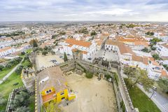 Cityscape with castel and cathedral, Beja, Alentejo, Portugal. Second Capital of Alentejo, Beja cityscape with castel and cathedral, Portugal Stock Photos