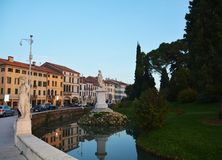 Cityscape in Castelfranco Veneto, Treviso, Italy. Cityscape and river in Castelfranco Veneto, in Treviso, Italy, by night Stock Photos