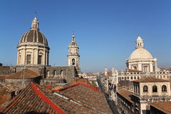 Cityscape and Cathedral of Catania, Italy. Cityscape of Catania (Sicily, Italy) with the Cathedral of Catania royalty free stock images