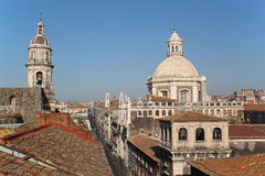 Cityscape and Cathedral of Catania, Italy. Cityspace of Catania (Sicily, Italy) with the Cathedral of Catania royalty free stock photos