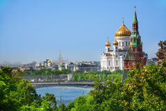 Cityscape with Cathedral of Christ the Savior Stock Photography