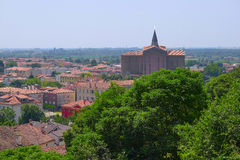Cityscape with the cathedral in an old part of town in Monselice Stock Photos