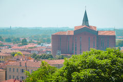 Cityscape with the cathedral in an old part of town in Monselice Royalty Free Stock Images