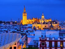 Cityscape and the Cathedral of Seville, Spain stock images