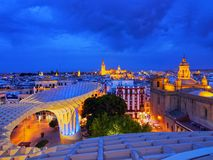 Cityscape and the Cathedral of Seville, Spain Stock Photos