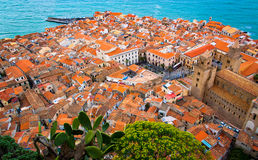 Cityscape of Cefalu, Sicily Royalty Free Stock Images