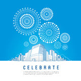 Cityscape with celebration fireworks. Background. Vector illustration Stock Photos