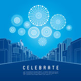 Cityscape with celebration fireworks. Background. Vector illustration Stock Image
