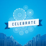 Cityscape with celebration fireworks. Background. Vector illustration Royalty Free Stock Images