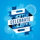 Cityscape with celebration fireworks. Background. Vector illustration Royalty Free Stock Image
