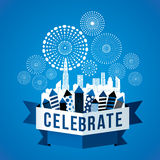 Cityscape with celebration fireworks. Background. Vector illustration Royalty Free Stock Photos