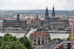 Cityscape center dresden. Monumental buildings of dresden city center seen from three kings tower, the most of them was rebuilt after second world war damages Royalty Free Stock Photography