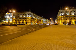Cityscape in the center of Minsk at the night Royalty Free Stock Image