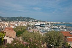 Cityscape of central Cannes and marina Royalty Free Stock Photos