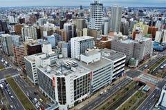Cityscape of Sapporo, Hokkaido, Japan stock photos