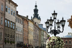 Cityscape of the centre of Lvov Royalty Free Stock Image