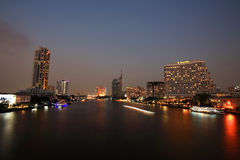 Cityscape of Chao Phraya River at dusk Royalty Free Stock Photography